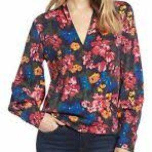 Halogen Silk Blend Floral Faux Wrap Blouse 1X